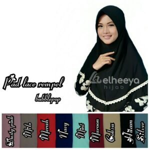 Jilbab instan pad lace rempel bubble pop