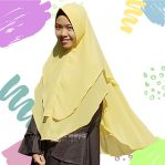 Khimar 2 layer Premium cerutty yellow